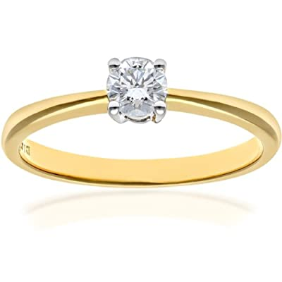 Ariel 18ct Yellow Gold Engagement Ring, IJ/I Certified Diamond, Round Brilliant