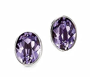 Elements Sterling Silver Ladies E3974M Tanzanite Swarovski Oval Stud Earrings