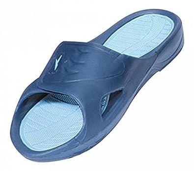 New Men's Rubber Slide Sandal Velcro Strap in Black Beach or Shower