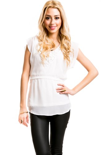 Retro Sheer V-Neck Laced Shortsleeve Belted Top in Warm White