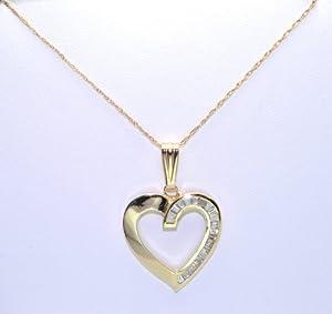 14K Yellow Gold Diamond Heart Charm