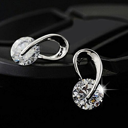 Elegant Women's Ear Studs Clear Rhinstone Zirconia