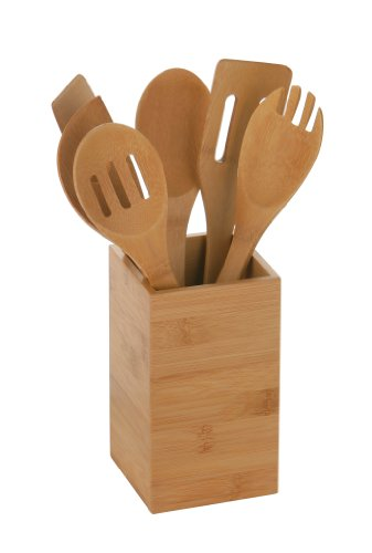 Premier Housewares 6-Piece Bamboo Utensil Holder with Utensils, Natural