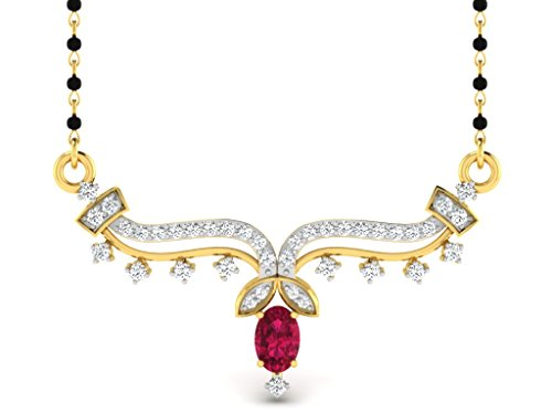 0.57 Cts Sparkles Diamond Mangalsutra Necklace in Sterling Silver & Real Diam...