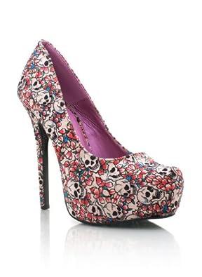 rockabilly girl skull and flower tattoo art sexy stiletto high heels stilettos 10 shoes on. Black Bedroom Furniture Sets. Home Design Ideas