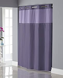 Hookless Shiny Texture Herringbone Shower Curtain With Snap In PE