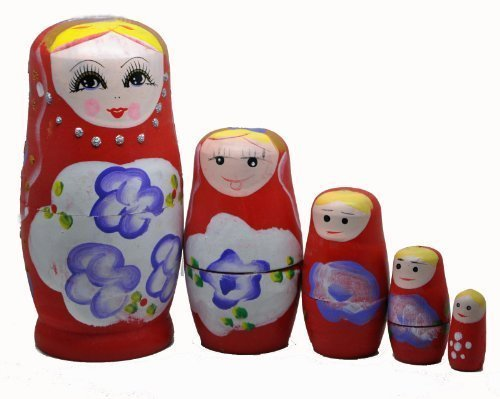 Red Set of 5 Cutie Nesting Dolls Matryoshka Madness Russian Doll