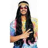 Long Black Hippie Wig with Headband Costume Accessory ~ Franco American...