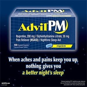 180 Tabs Advil PM Nighttime Pain Reliever and Sleep Aid