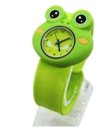 Cute 3D Cartoon Animal Watch Children'S Rubber Snap-On Slap Cuff Watch Gifts Idea (Green Frog)