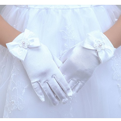 Tandi Favorite Girls Gorgeous Satin Fancy Stretch Dress Formal Pageant Party Gloves (Large, White)