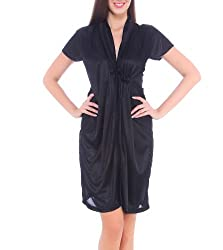 Fasense Womens Satin Nightwear ,Black ,Free Size