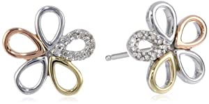 S&G Sterling Silver and 14k Gold Flower Diamond Stud Earrings by Amazon Curated Collection