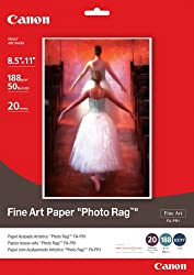 Canon Fine Art Paper Photo Rag, 8.5 x 11 Inches, 20 Sheets (0587B005)