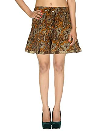 Indian Women Boho Gypsy Hippie Cotton Short Mini Skirt With Block Print Multicoloured