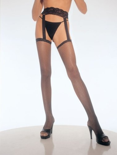 Fishnet Stockings With Attached Lace Garter Belt