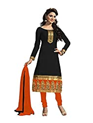 Bdow Women's Churidar Salwar Suit dress material (Black-Orange-Embroidered-unstitched)