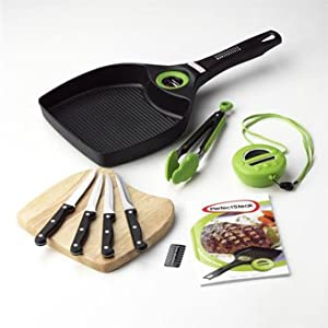 Perfect Steak Advanced Grill Pan System with built in temperature gauge & digital pod timer plus Wooden knife block and 4 steak knives, cook all meats and vegetables to perfection