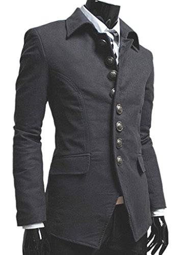 TM Men's vintage Stylish Lapel Button Suit Coat Jacket Blazers L Gray