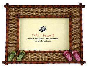 Hawaiian Photo Frame Vintage Bamboo Slipper 3.5 x 5 in.