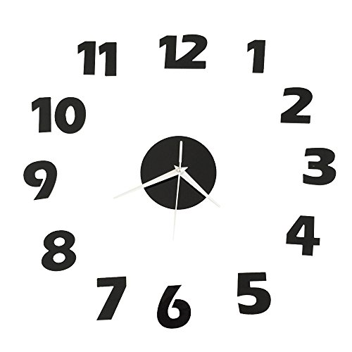 Happy Hours - Stylish 3D Frameless Wall Clock / Stereoscopic Digital Mirror Home Decor Watch / Wall Sticker Design Bell for Cafe Bedroom Living Room Dormitory(Black)