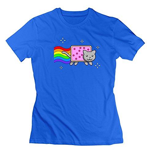 Nyan Cat Cartoon Cat Pop Tart Rainbow Trail T-shirt RoyalBlue For Womens