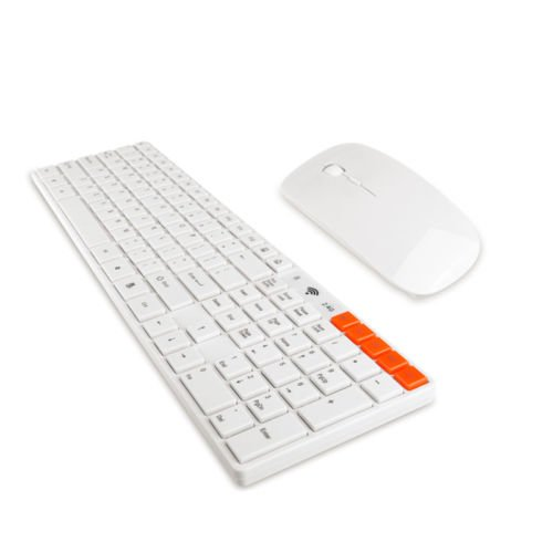 Best  Slim 2.4g Multimedia Wireless Keyboard and Optical Mouse USB Receiver Kit White