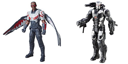 Super Hero Falcon Electronic & Marvel's War Machine Electronic 12-Inch Hero Series Action Figures Toys, 2 Pack