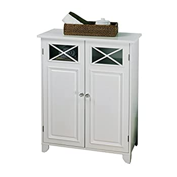 Elegant Home Fashions Dawson Collection Shelved Floor Cabinet, White