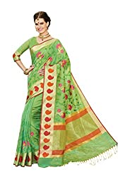 Laethnic green embroidered chanderi saree