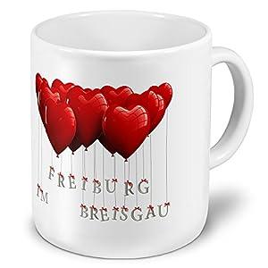 XXL Jumbo-Städtetasse Freiburg im Breisgau - XXL Jumbotasse mit Design Herzballons - Städte-Tasse, Städte-Krug, Becher, Mug