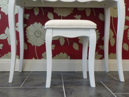 Loire French Style Cream Dressing Table Stool with Cabriole Legs
