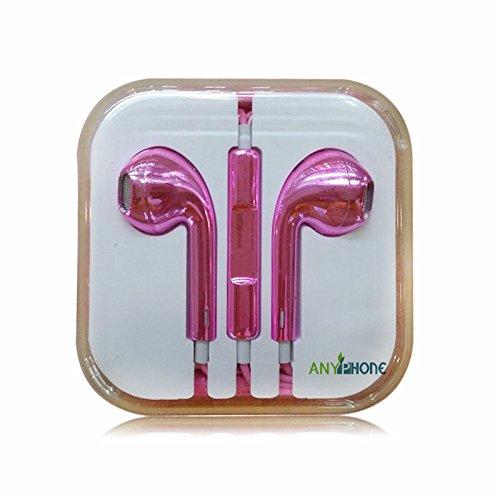 Anyphone Colorful Luxury Headset Headphone Earphone Volume Remote+Mic For Iphone4 5 Ipad3 4 Ipod (1 Metallic Rose)