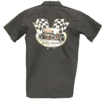 Lucky 13 Black Widow Hot Rod Mens Button Front Shirt Size: 3XL