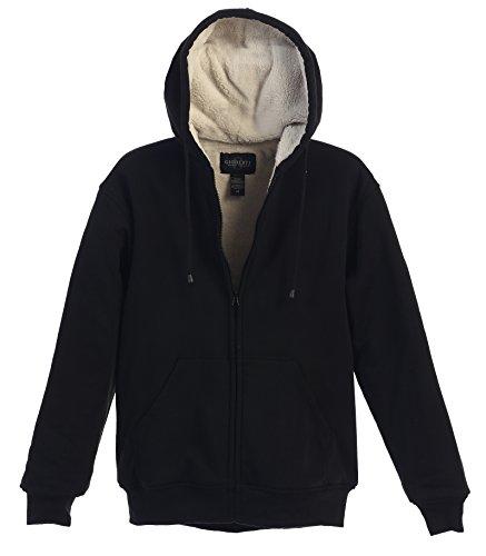 Gioberti Mens Sherpa Lined Pull Zip Fleece Hoodie Jacket, Black, X Large (Hood Fleece Jacket compare prices)