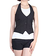 Women Solid Sleevless Black Suit Vest…