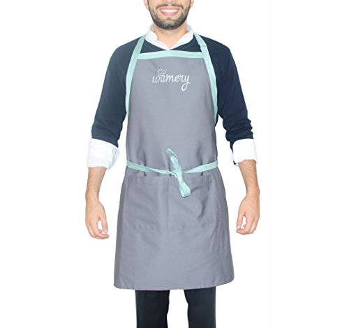 """Functional Apron Design with 2 Pockets for Adults Men and Women. Adjustable Neck, ONE Size fits most: Small, Medium & Large: 33.5"""" x 29"""". Bib and Waist Apron. Kitchen Professional."""