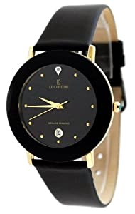 Le Chateau #955MG_BLK Men's Black Diamond Accented Dome Crystal Leather Dress Watch