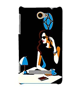 Focus Girl with Cup Of Coffee 3D Hard Polycarbonate Designer Back Case Cover for HTC Windows 8S