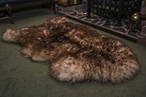 Spiced Brown XL British Genuine Natural Sheepskin Fur Rug from Leather Heritage