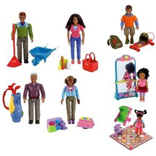 Fisher Price (휘셔 프라이스) Loving Family African American 피규어 인형 & Accessories: Grandpa, Grandma, Dad, Mom, Brother,Sister and Toddler 피규어 장난감 인형 (병행수입)-