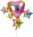 スパークリングスター&ハートの誕生日ブーケ【誕生日のバルーン電報・バルーンギフト】
