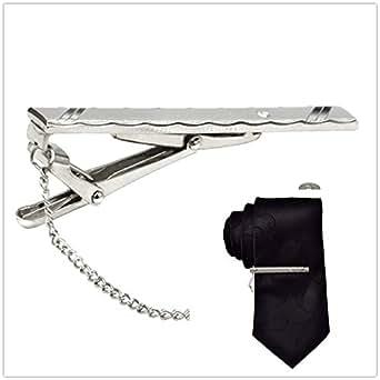Hochwertige edle Krawattenklammer Krawattennadel Krawatten Ansteck Nadel silber mit Verschluss-Clip und Kette