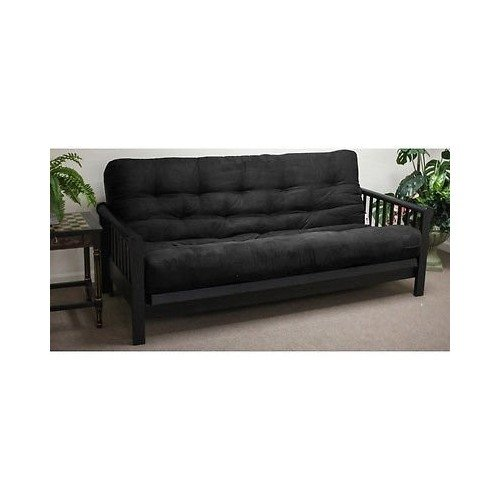 Sheek Black 5-inch Full-size Plush Futon Mattress Sofa Living Room Furniture Decor image