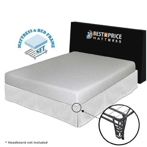 7-Inch Queen Gel Memory Foam Mattress + Bed Frame Set With Bracket + Skirt