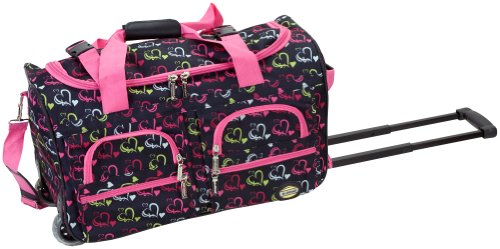 Rockland Luggage Rolling 22 Inch Duffle Bag, Heart1, One Size