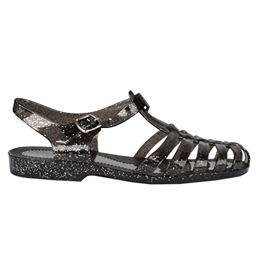New Women Summer T-Strap Retro Jelly Rain Flat Sandal TRENDS SNJ SHOES (6.5, Black Black Glt) (Heeled Jelly Sandals compare prices)