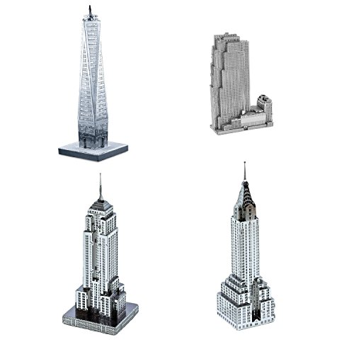 Set of 4 Metal Earth 3D Laser Cut Building Models: 30 Rockefeller Plaza, Empire State Building, Chrysler Building, & One World Trade Center (World Trade Center Model compare prices)