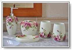 Pink Bathroom Accessory Set