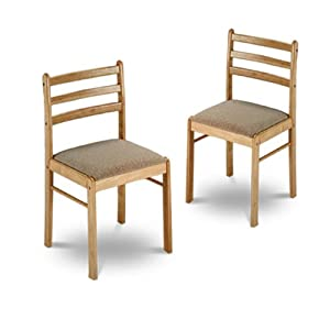 2 new natural finish wooden dining chairs